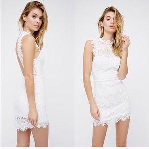 Free People • White Lace Open Back Mini Dress